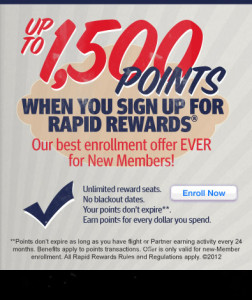 rapid rewards enrollment promotion code 1500